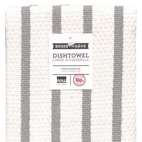 Basket Weave Striped Dish Towel - Grey
