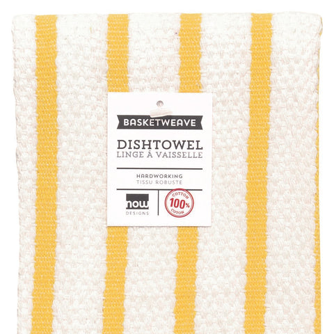 Basket Weave Striped Dish Towel - Yellow
