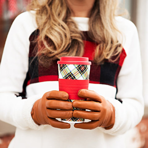 Plaid To-Go Cup (white)