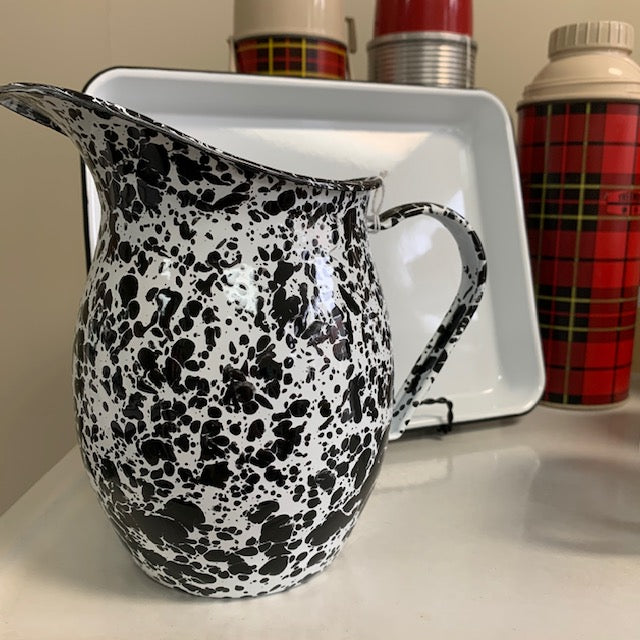 Enameled Pitcher - Small Black & White