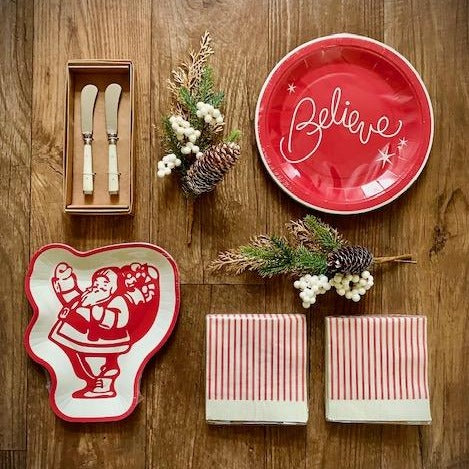 Red & White Striped Paper Napkins