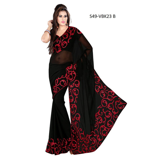 Vibes Women's Georgette Saree, With Blouse (S49-VBK23_Black)