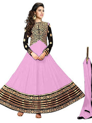 Vibes Women's  Georgette  Anarkali Style Unstich Dress Material (V327-10007_Pink)