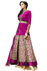Vibes Women 39 S Pure Banglori Silk Anarkali Style Unstiched Dress Material V358 3007 Pink