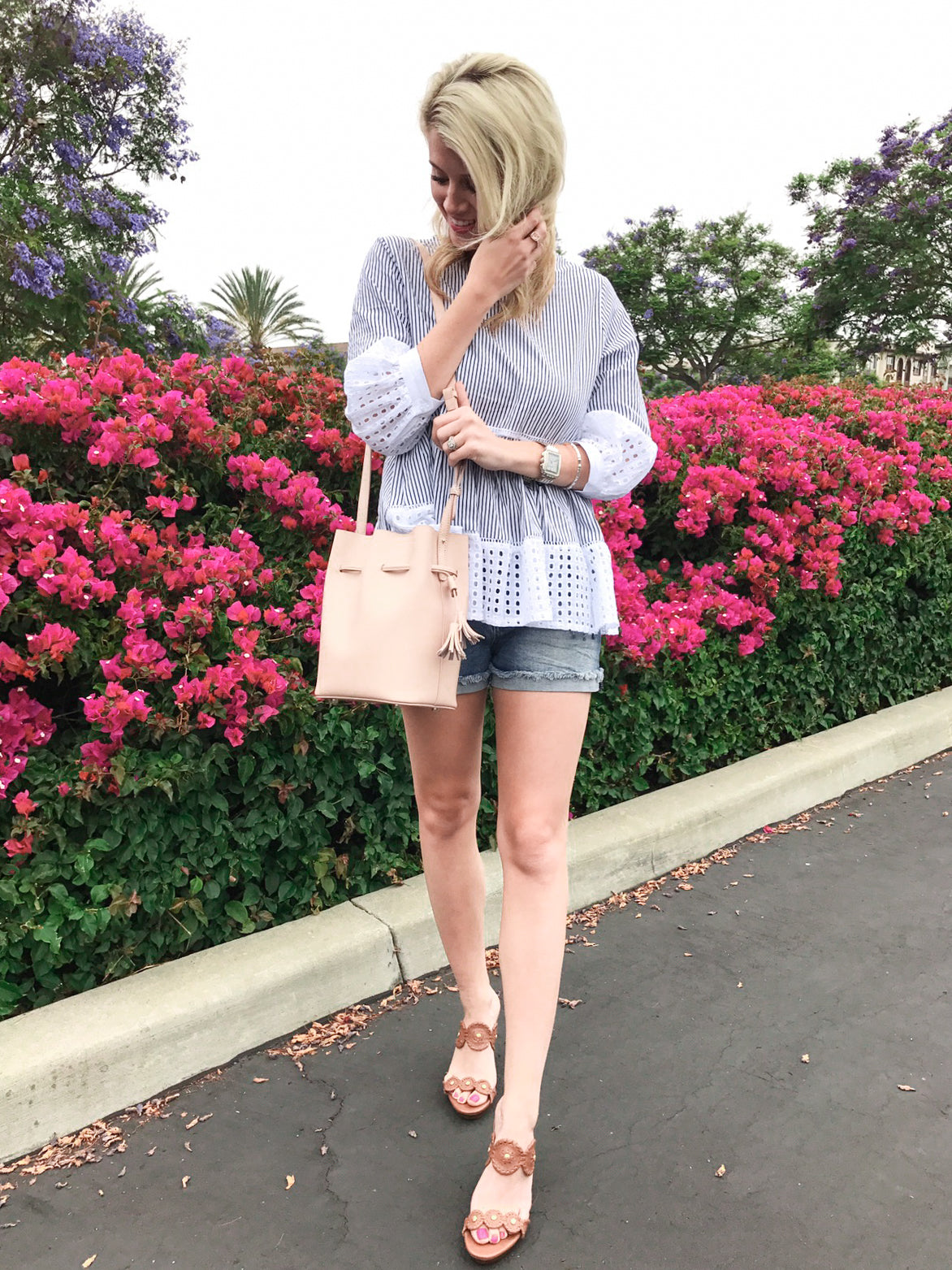 CASUAL BLUE & WHITE EYELET TOP by @alismithstyle