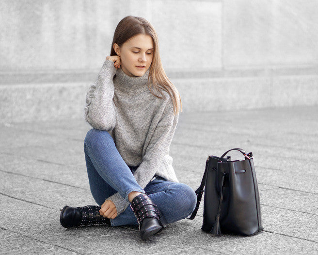 High Neck Sweater & High Waist Jeans by @denimjoy_