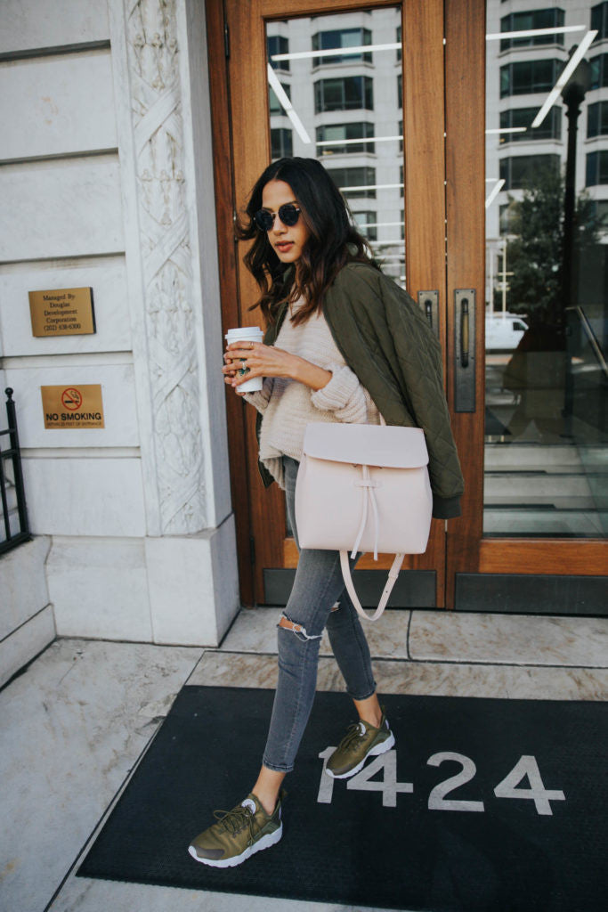 Olive Green Sneakers + Blush Tones for Fall by @discodaydream