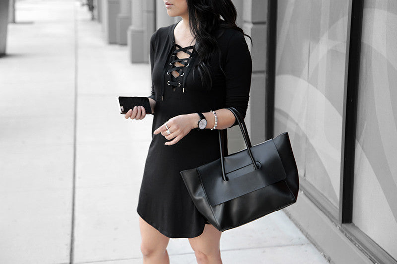 Lace Up Dress by @theversastyle