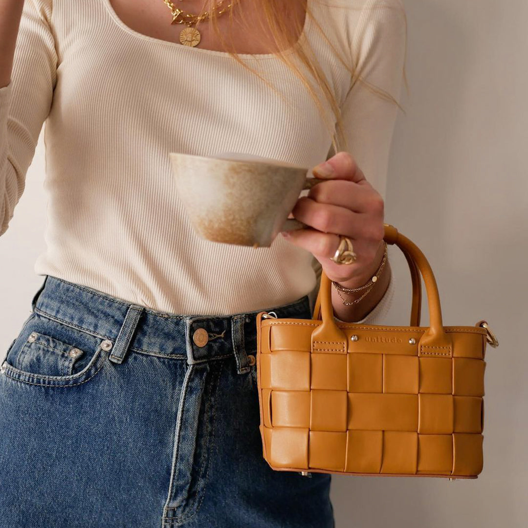 Criss-cross Mini Handbag - Caramel Brown