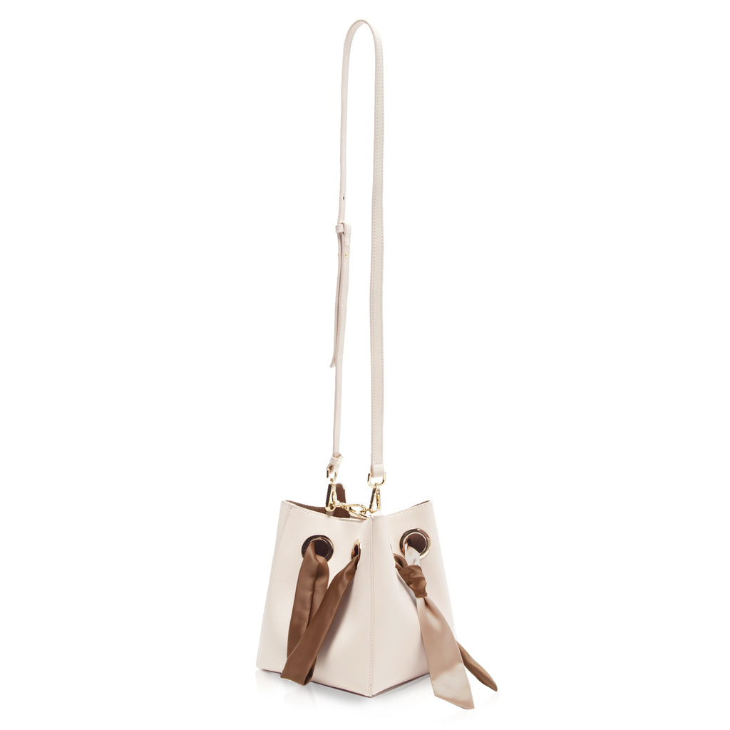 Ribbon Handle Bucket Bag - Cream/Pink/Brown