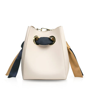 Ribbon Handle Bucket Bag - Cream/Blue/Khaki