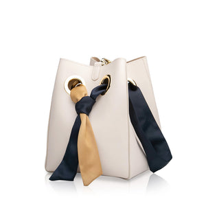 Ribbon Handle Bucket Bag - Cream