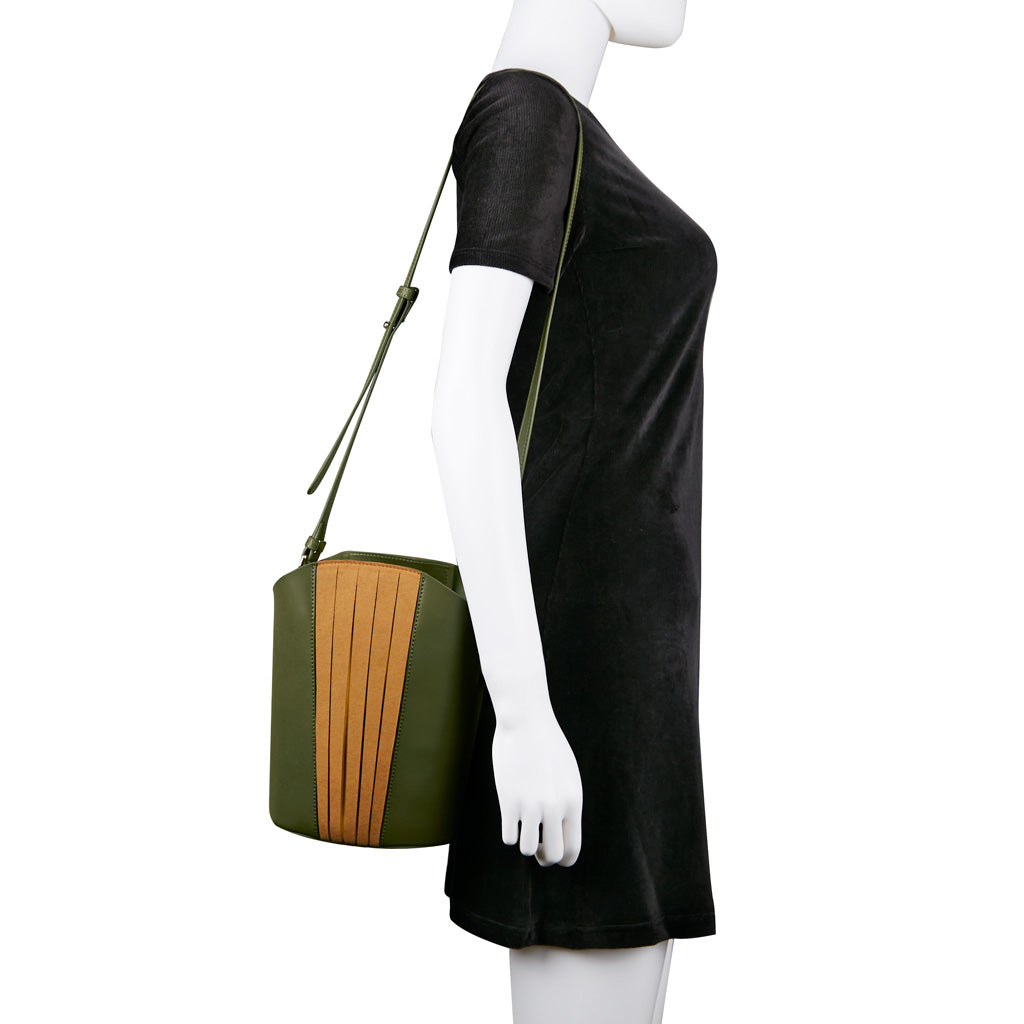 Chiaro Handle Bucket Bag - Moss Green