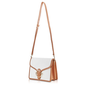 Halo Canvas Crossbody Bag - Off-White/Caramel Brown