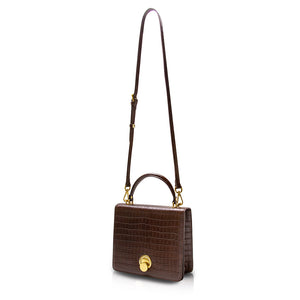 Sugarcube Turnlock Top Handle Bag - Brown Croc Embossed