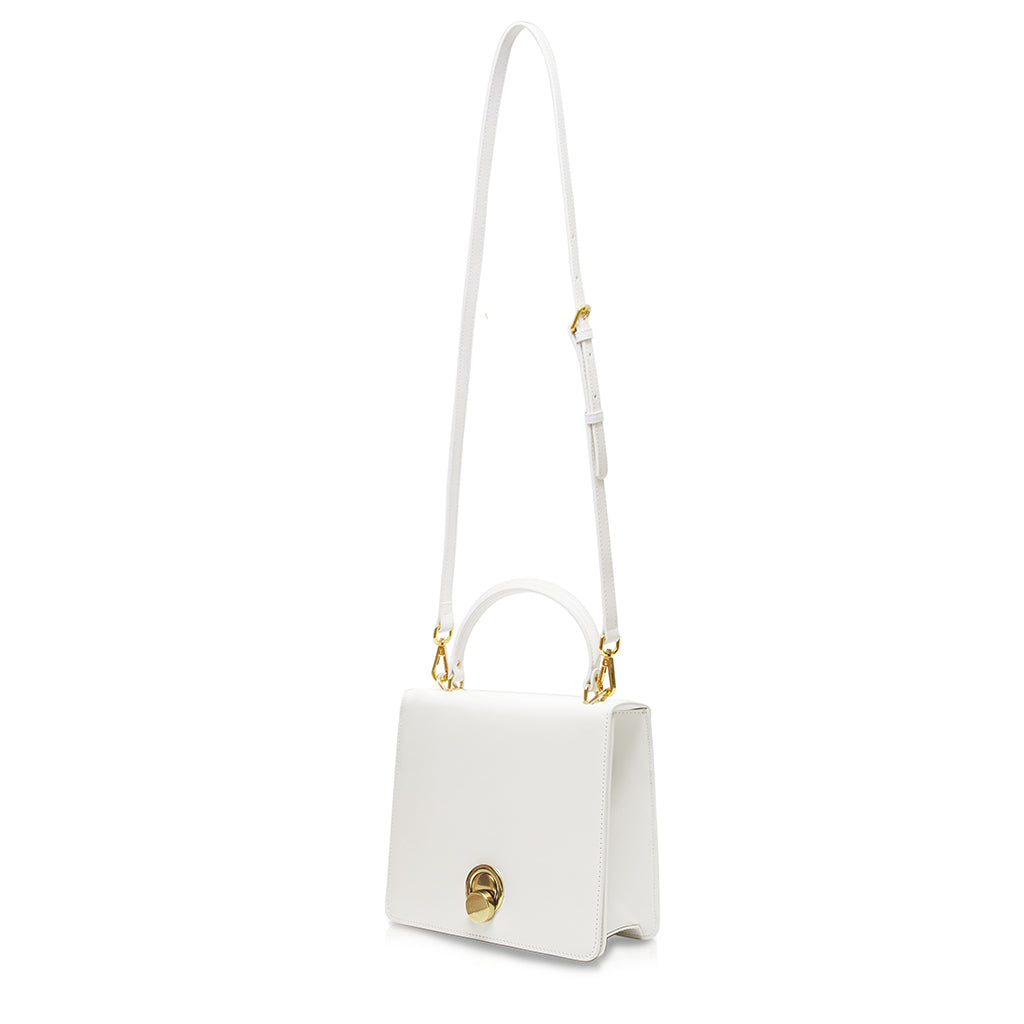 Sugarcube Turnlock Top Handle Bag - White