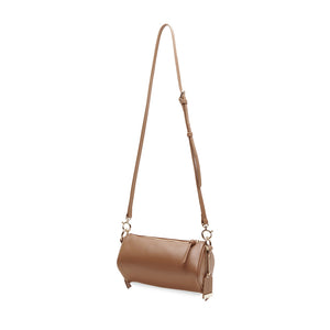 Cuboid Top Handle Crossbody Bag - Brown