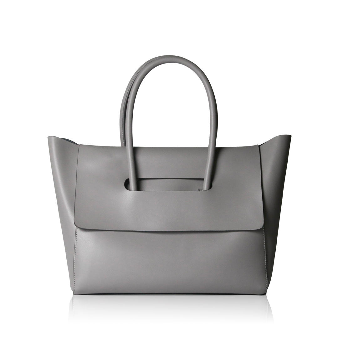 Flap Closure Handbag - Grey
