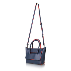 Mini Flap Closure Handbag - Navy Blue
