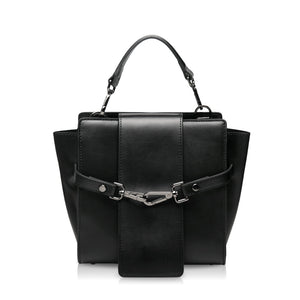 Dual Clasp Crossbody Bag - Black