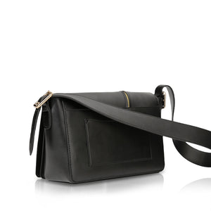WASP Zip Flap Shoulder Bag - Black