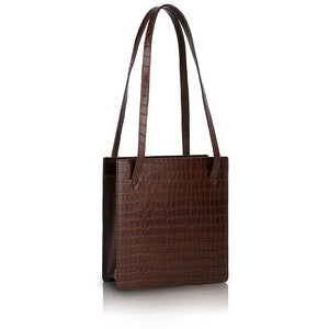 Lucy Book Tote Bag - Brown Croc Embossed