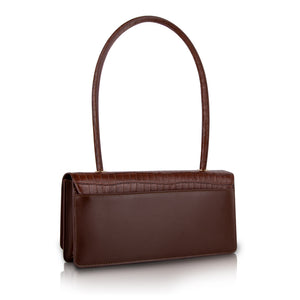 Harmon Long Handle Shoulder Bag - Brown Croc Embossed