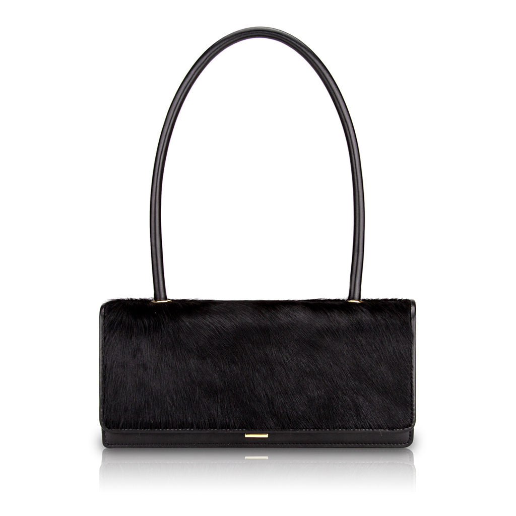 Harmon Long Handle Shoulder Bag - Black Pony Hair