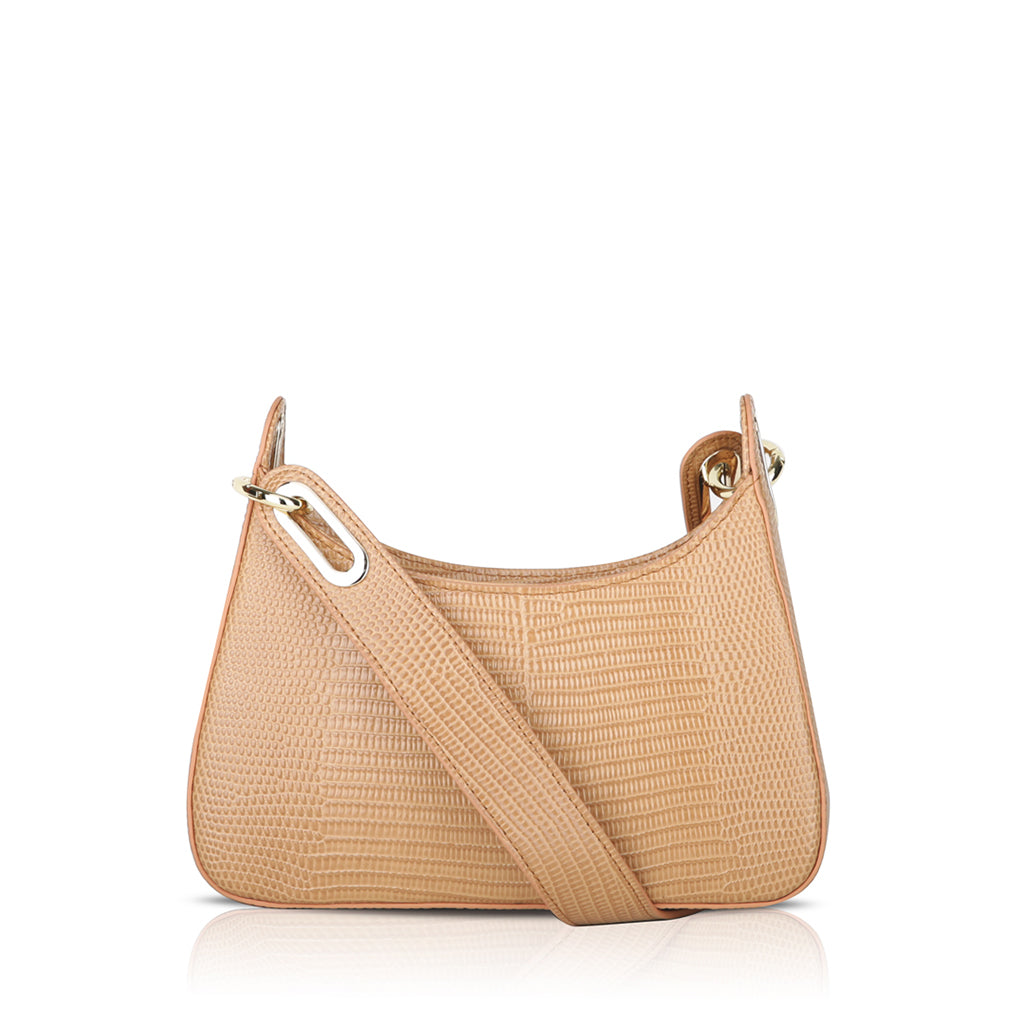 Luna Mini Crossbody Bag - Blush Pink Lizard Embossed