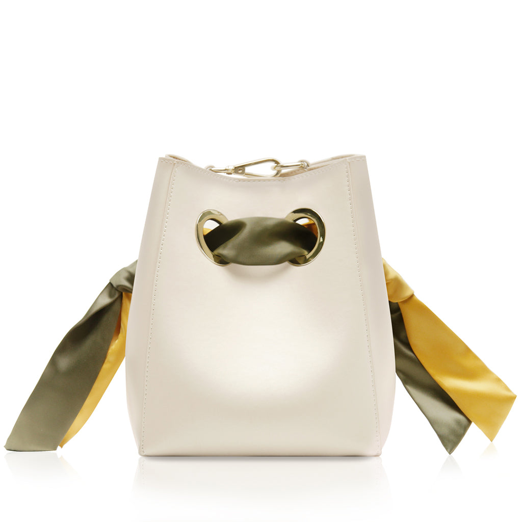 Ribbon Handle Bucket Bag - Cream/Yellow/Olive