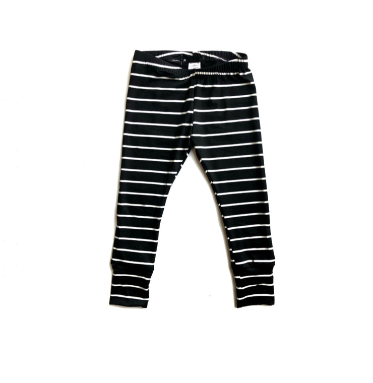 Black Striped Bamboo Leggings