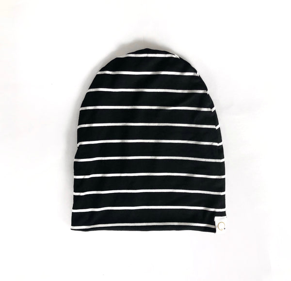 Mama Striped Slouchy Beanie