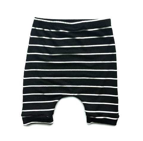 Black Striped Harem Shorts