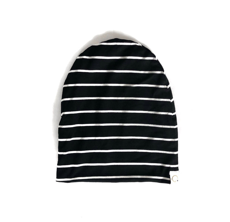 Black Striped Slouchy Beanie