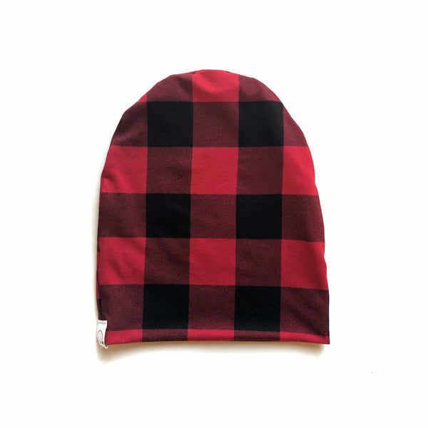 Red Plaid Bamboo Slouchy Beanie
