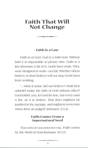 Charles Capps, Faith that Will Not Change Book