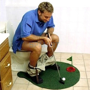 Potty Putter Toilet Putting Mat Golf Game for Bathroom