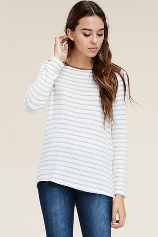 Striped Hacci Top with Button Down Back