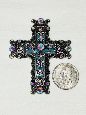 Attractable Jeweled Cross Key Charm