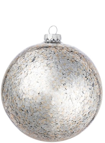 "5"" Glass Sequined Ball Ornament"