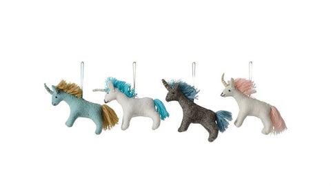 "4-1/2""L x 1-1/2""W x 4""H Wool Felt Unicorn Ornament"