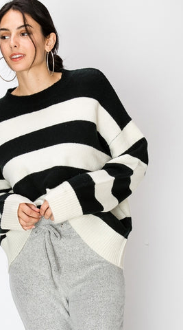 Black and White Drop Shoulder Striped Sweater