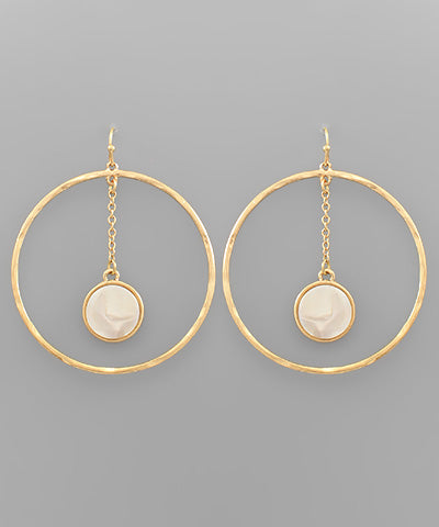 Acrylic Disc Dangle Circle Earrings