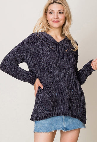 Charcoal Oversized Chenille Sweater