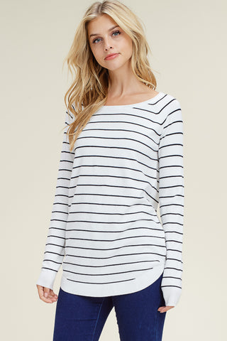 Boat Neck Striped Pullover Top