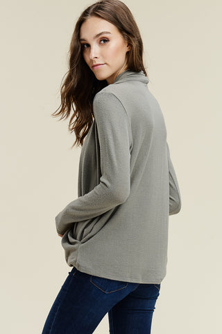 Wrap Front Hacci Sweater- Olive