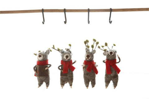 "4-3/4"" Wool Felt Deer Ornament"
