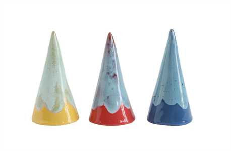 "4"" Handmade Ceramic Cone Shaped Ring Holder - 3 Colors"