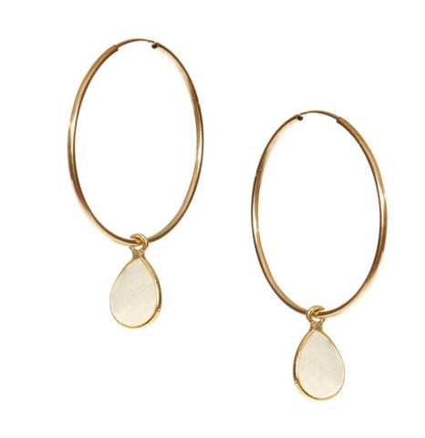 Hide and Stone Hoop Earrings
