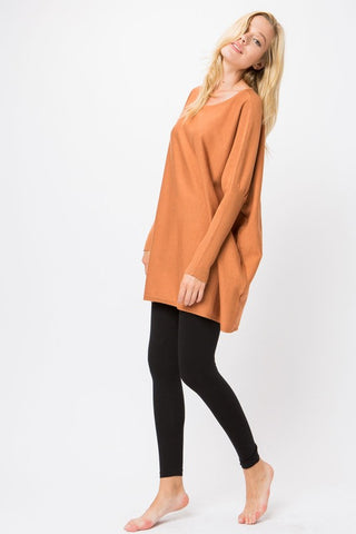 Oversized Tunic Pullover-Camel
